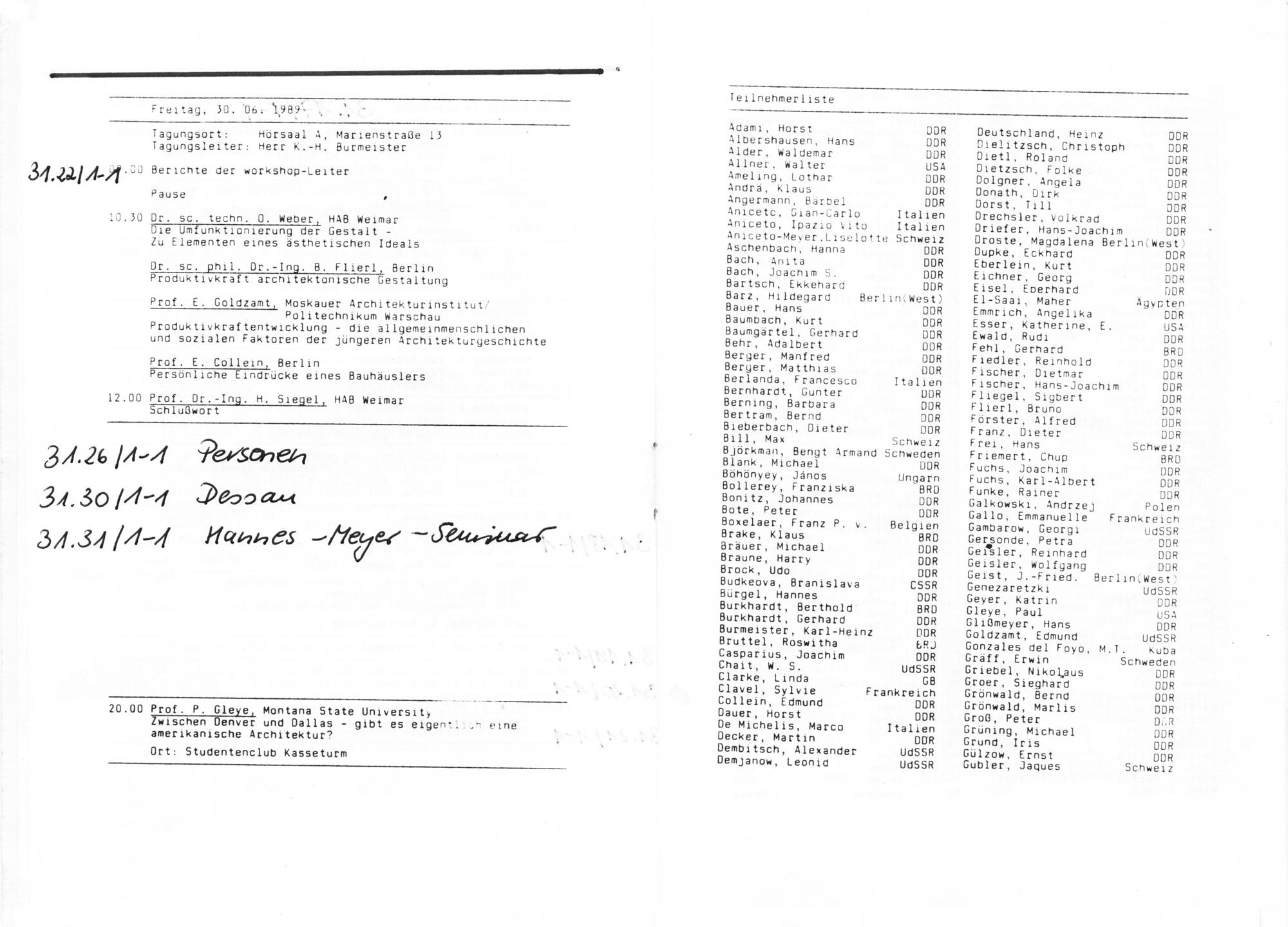 Programm des V. Bauhaus-Kolloquiums