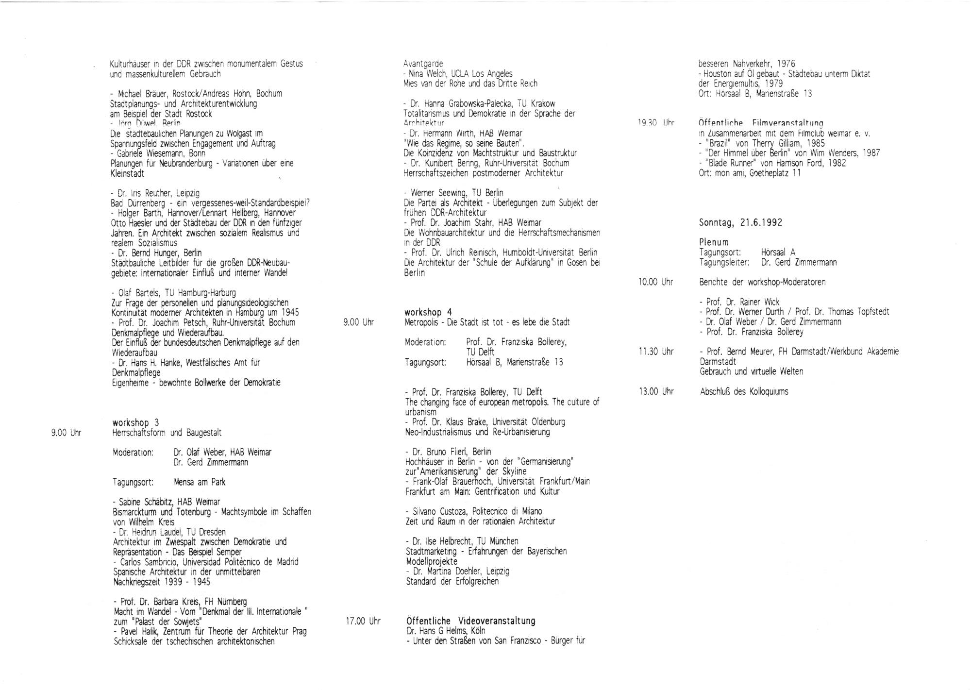 Programm des VI. Bauhaus-Kolloquiums