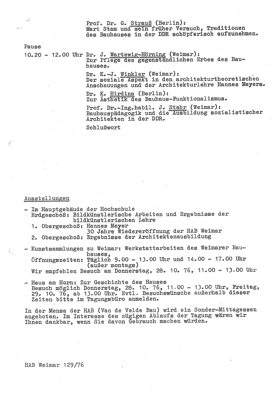 Programm des I. Wissenschaftlichen Kolloquiums
