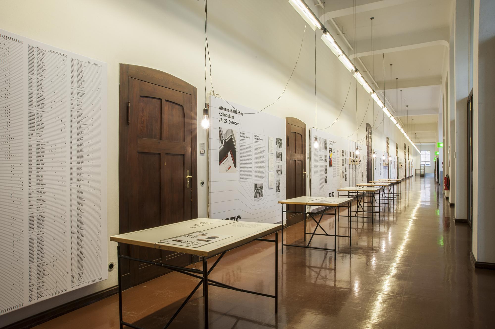 Ausstellung über die Geschichte der Bauhaus-Kolloquien im Hauptgebäude, 2016. Fotografin: Ortrun Bargholz, Weimar