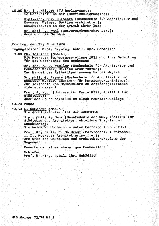 Programm des II. Bauhaus-Kolloquiums