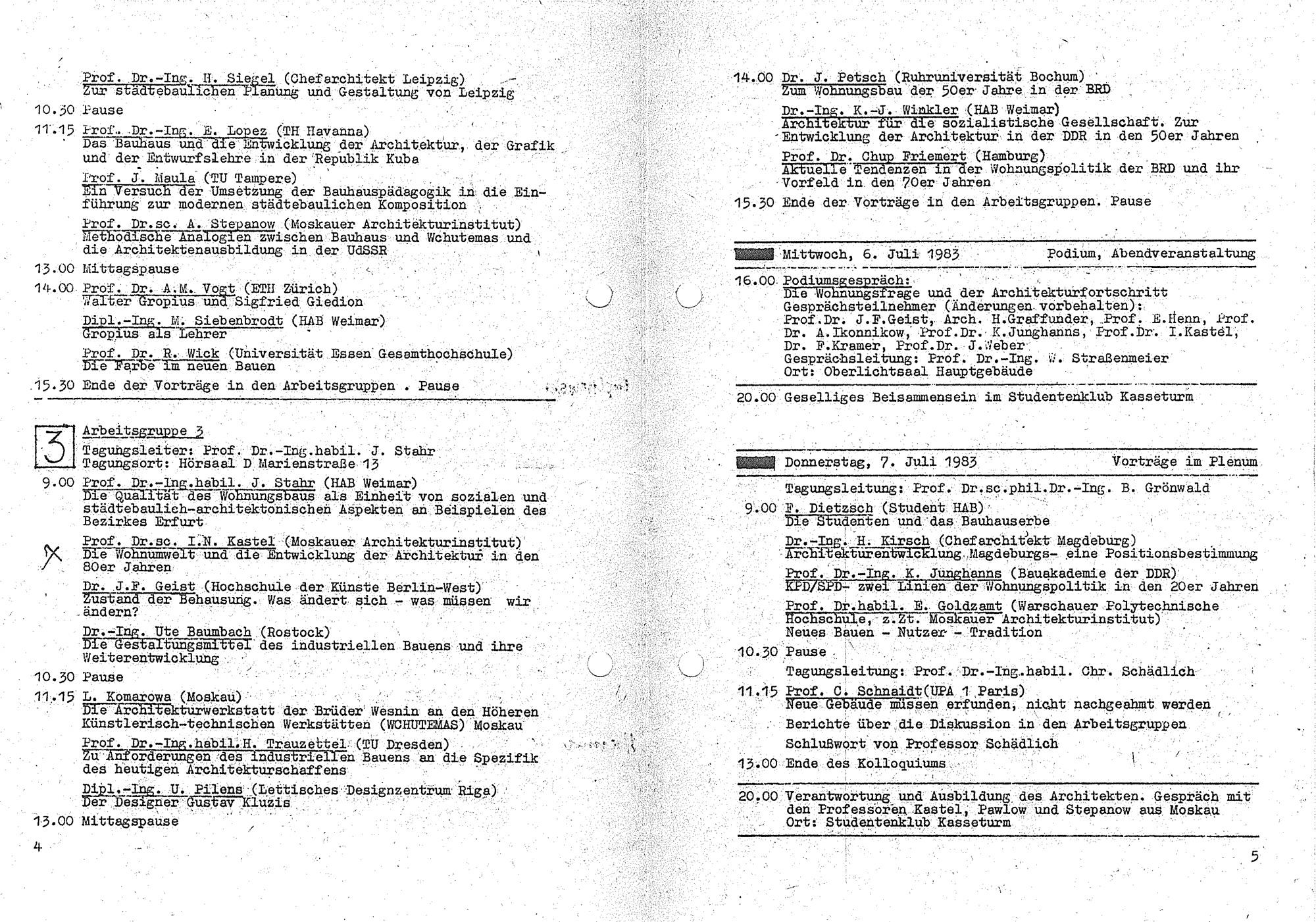 Programm des III. Bauhaus-Kolloquiums
